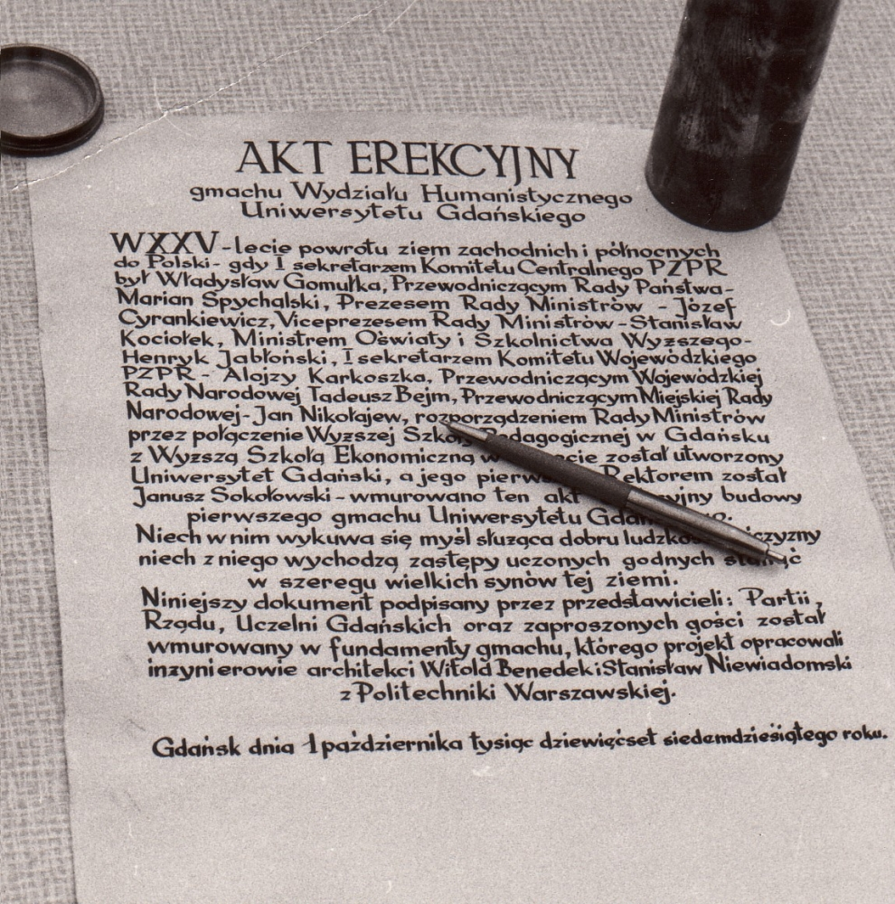 Akt erekcyjny pod budowę dzisiejszego gmachu Wydziału Filologicznego iHistorycznego, podpisany 1.10.1970 r.