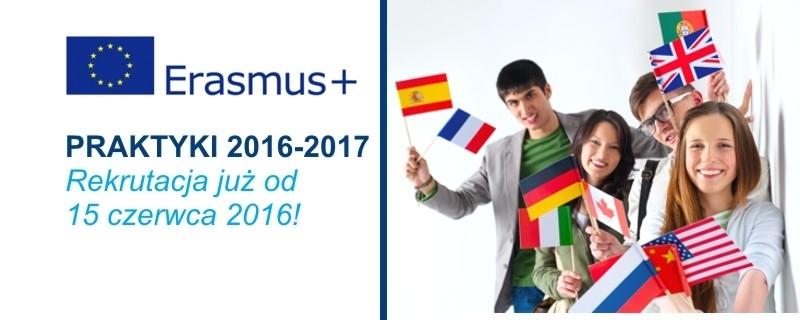 Erasmus+ - praktyki  2016-17  baner