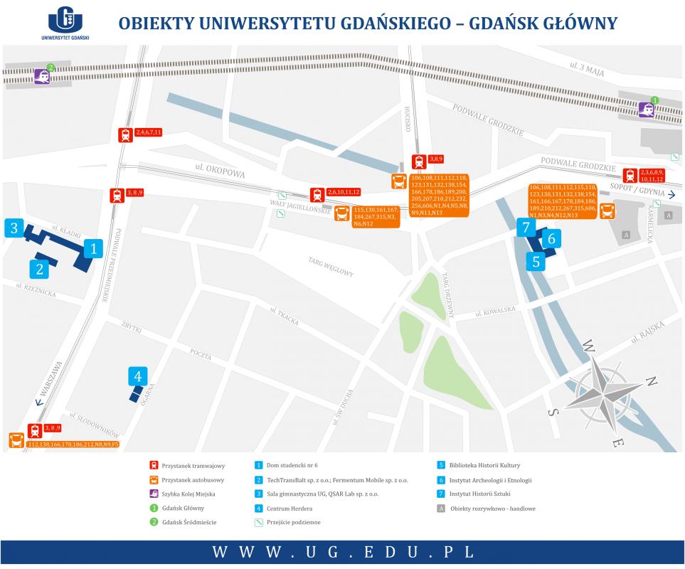 Obiekty UG - Gdańsk Główny - mapa