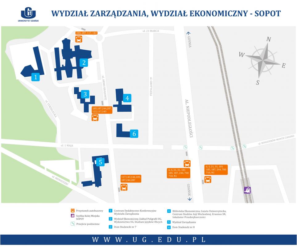 Sopot - Wydział Zarządzania i Wydział Ekonomiczny - mapa