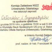 Zaproszenie członków i sympatyków Solidarności UG
