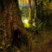 """Stała ekspozycja pt. """"Życie w lesie bursztynowym"""", Wydział Biologii UG. Widzimy trójwymiarowy model bursztynowego lasu"""