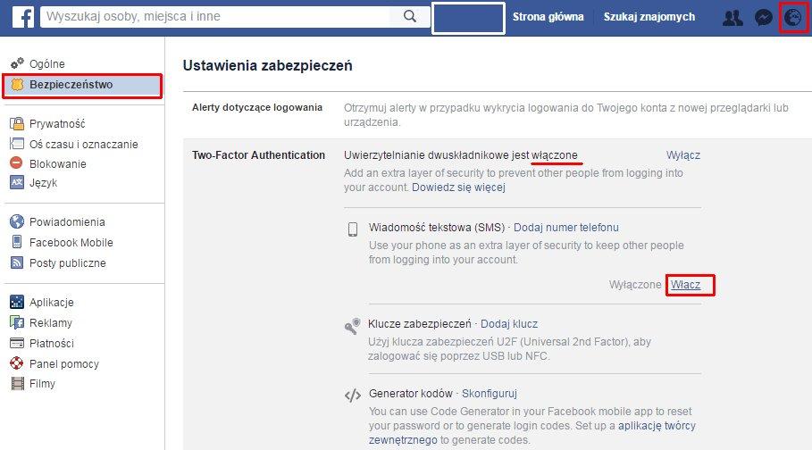 Facebook ustawienia